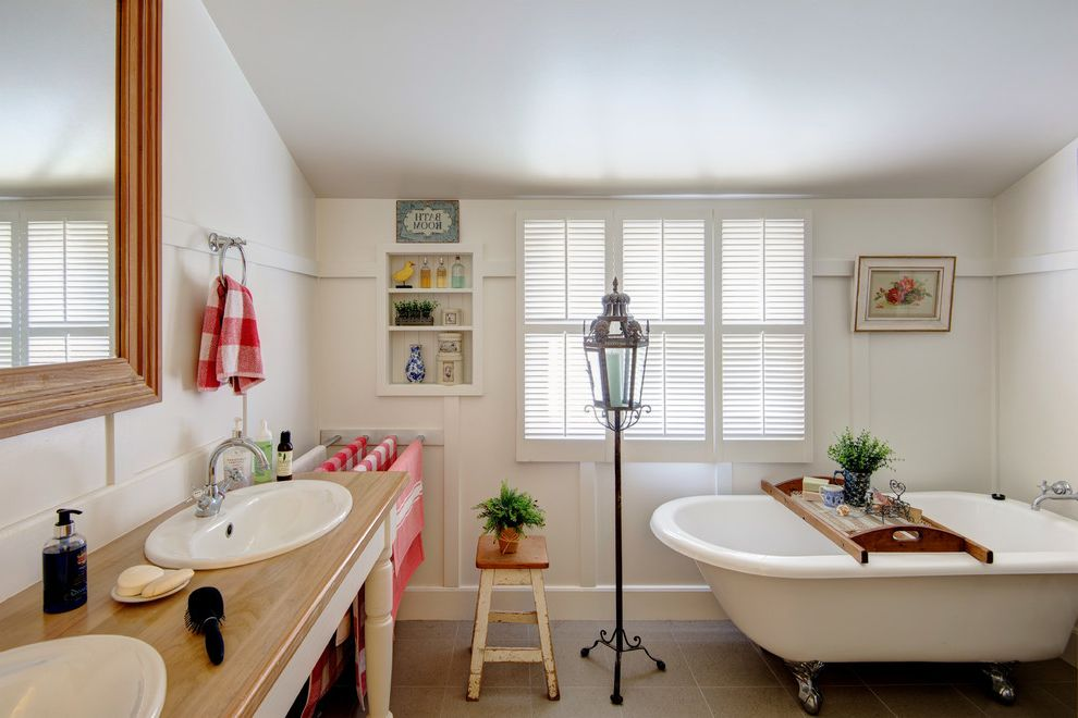Photographers Topeka Ks   Eclectic Bathroom  and Floor Lantern Plantation Shutters Towel Ring Two Sinks