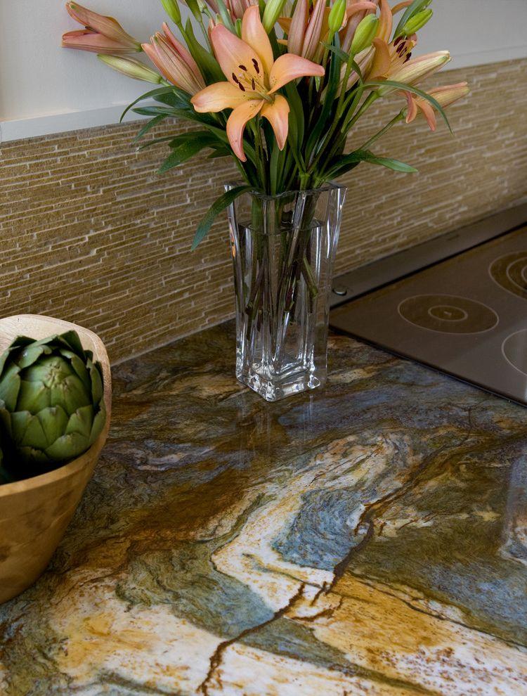 Picasso Granite   Eclectic Kitchen Also Backsplash Louisa Blue Granite Struttura Oro