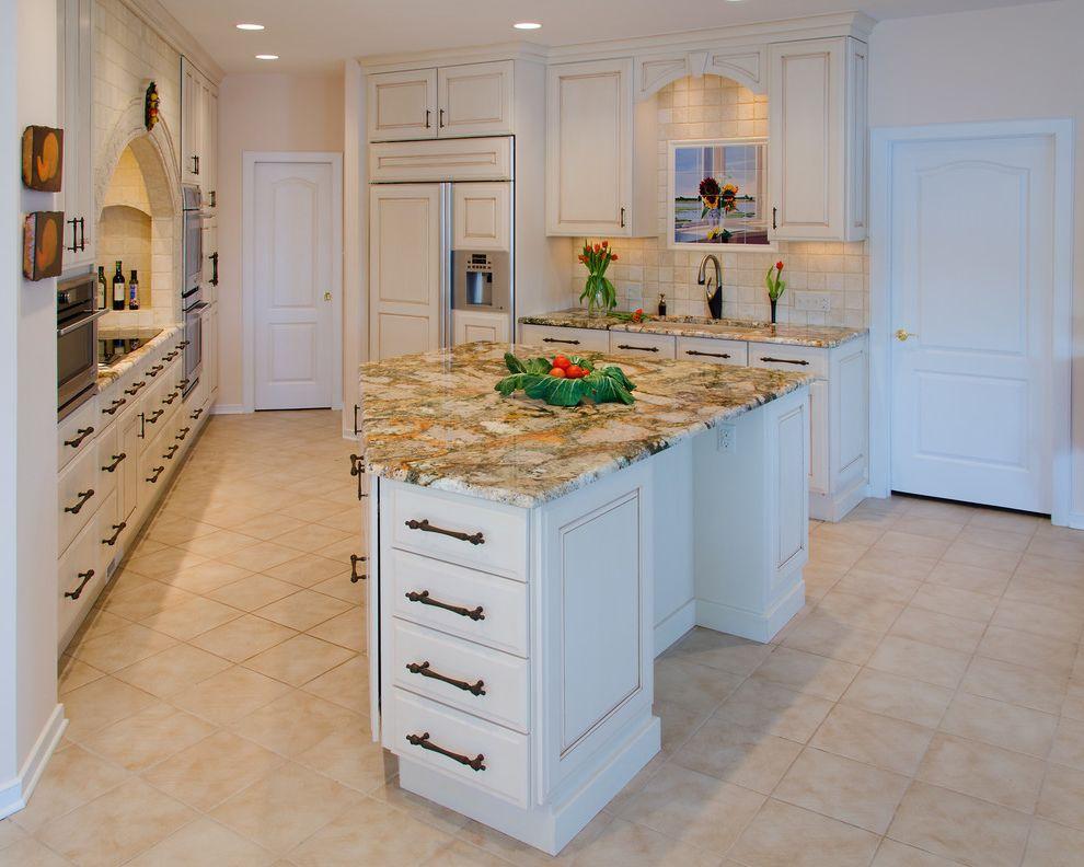 Picasso Granite   Traditional Kitchen Also Amaretto Glaze Island Picasso Granite Tile Backsplash
