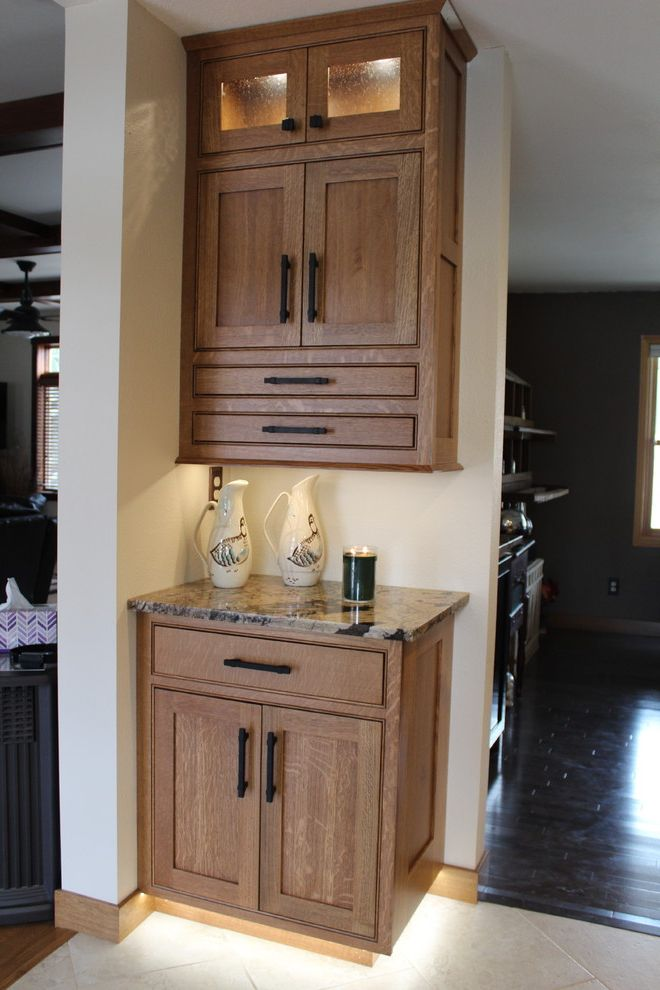 Picasso Granite with Craftsman Kitchen Also Flat Panel Doors Quartersawn White Oak
