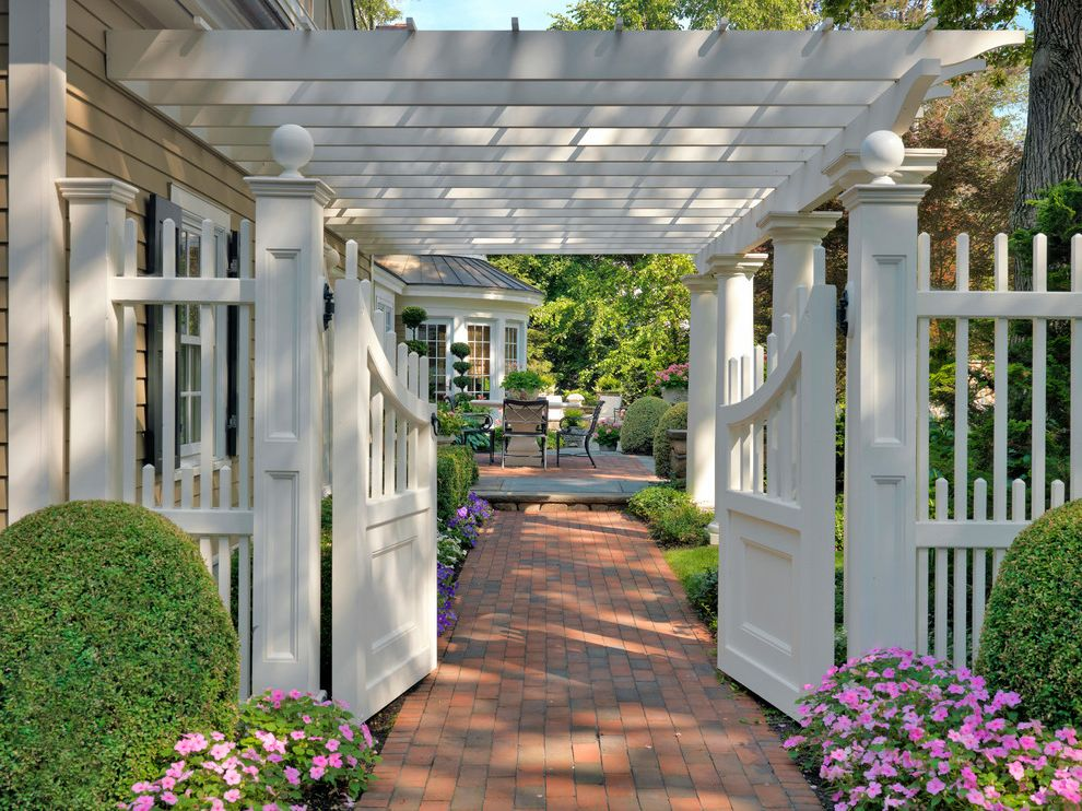 Pickett Fences   Traditional Landscape Also Bluestone Brick Brick Path Columns Double Gate Entry Gates Fencing Fieldstone Garden Entrance Garden Entry Gate Pergola Picket Planting Seating Terrace Terrace Tuscan Columns Walkway White Gates White Pergola