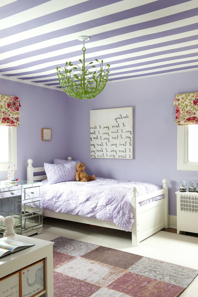 Picture of a Teddy Bear   Shabby Chic Style Kids Also Bohemian Chandelier Fun Girls Bedding Kids Room Decor Kids Window Treatment Light Purple Bedding Light Purple Walls Mirrored Desk Purple Striped Ceiling Sari Silk Rug Teddy Bear White Twin Bed