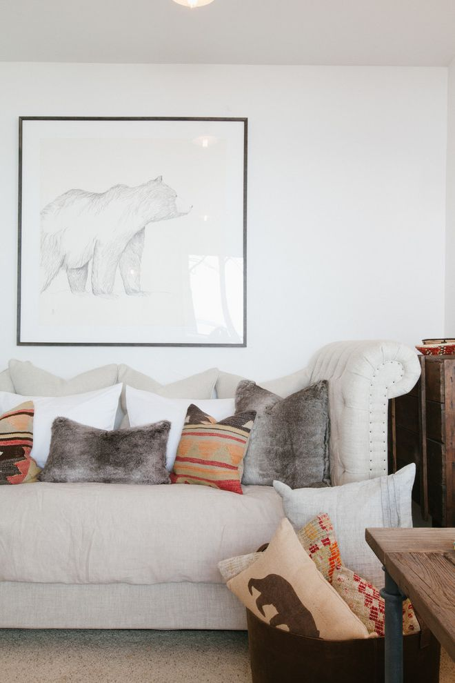 Picture of a Teddy Bear with Rustic Home Office Also Black Strip Frame Chesterfield Sofa Fur Pillows Pencil on Paper Tufted Couch