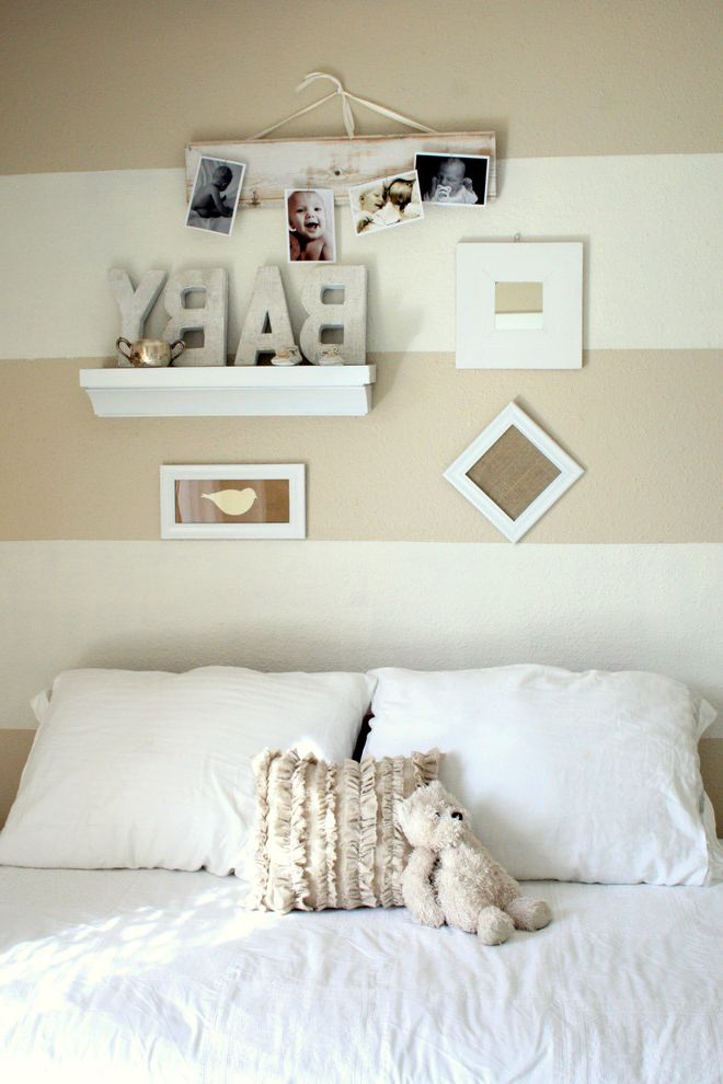 Picture of a Teddy Bear with Traditional Nursery Also Bed Pillows Gallery Wall Ideas for Baby Boy Nursery Neutral Colors Nursery Striped Walls Vignette Wall Art Wall Decor Wall Letters Wall Shelves White Bedding