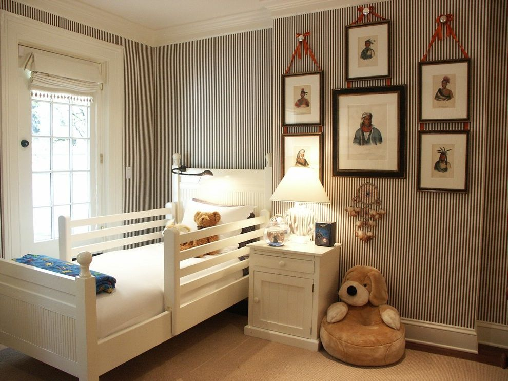 Picture of a Teddy Bear with Transitional Kids  and Glass Lamp Native American Portaits Roman Shade Striped Wallpaper Toddler Bed