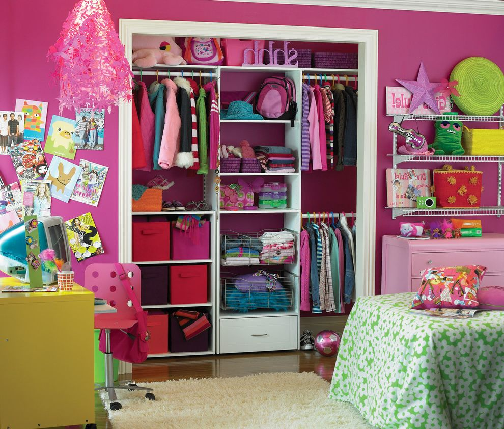 Pictures of Closet Organizers   Eclectic Kids  and Bedroom Closet Closet Organizer Closet Storage Clothing Girl Girls Room Kids Organization Organized Pink Pink Walls Storage Teen Tween