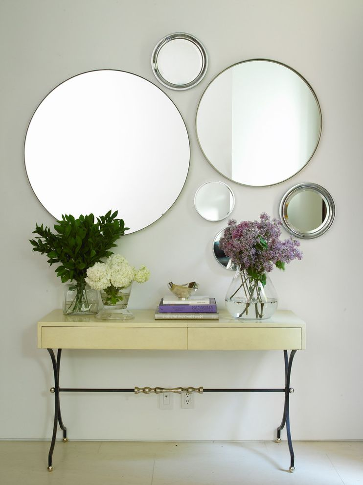 Pier One Wall Mirrors with Contemporary Hall  and Console Table Empire Table Floral Arrangement Gallery Wall Hydrangeas Minimal Romantic Round Mirrors Wall Art Wall Decor White Floor