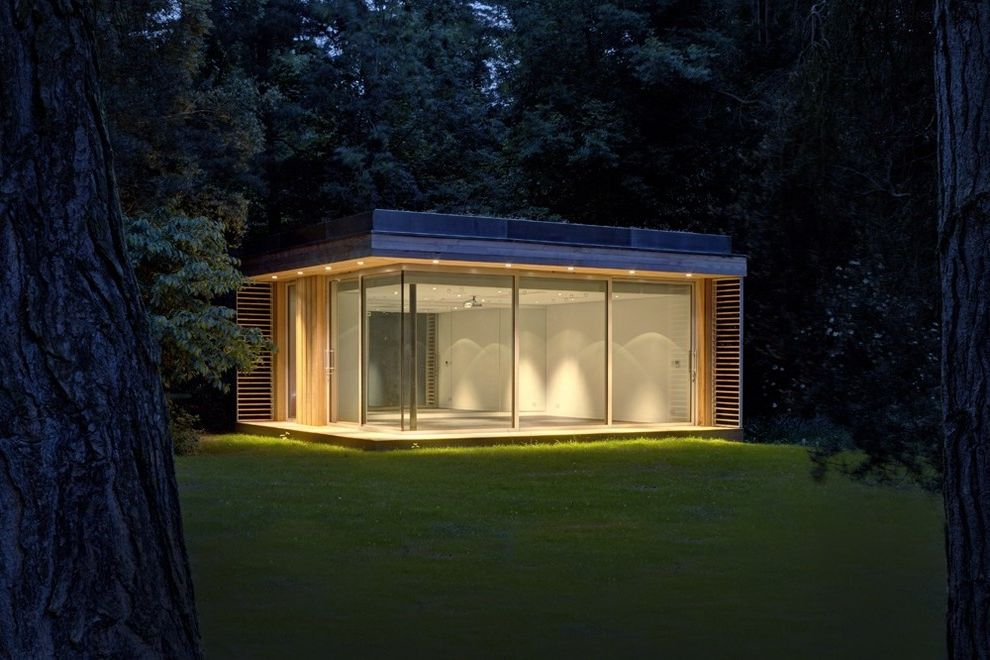 Pilates Room Studios   Contemporary Shed Also Dance Studio Detached Building Detached Structure Dusk Flat Roof Garden Room Glass Glass Wall Gym Home Gym Night Lighting Pavilion Pilates Pilates Gym Studio Timber Wood Slats Woodland