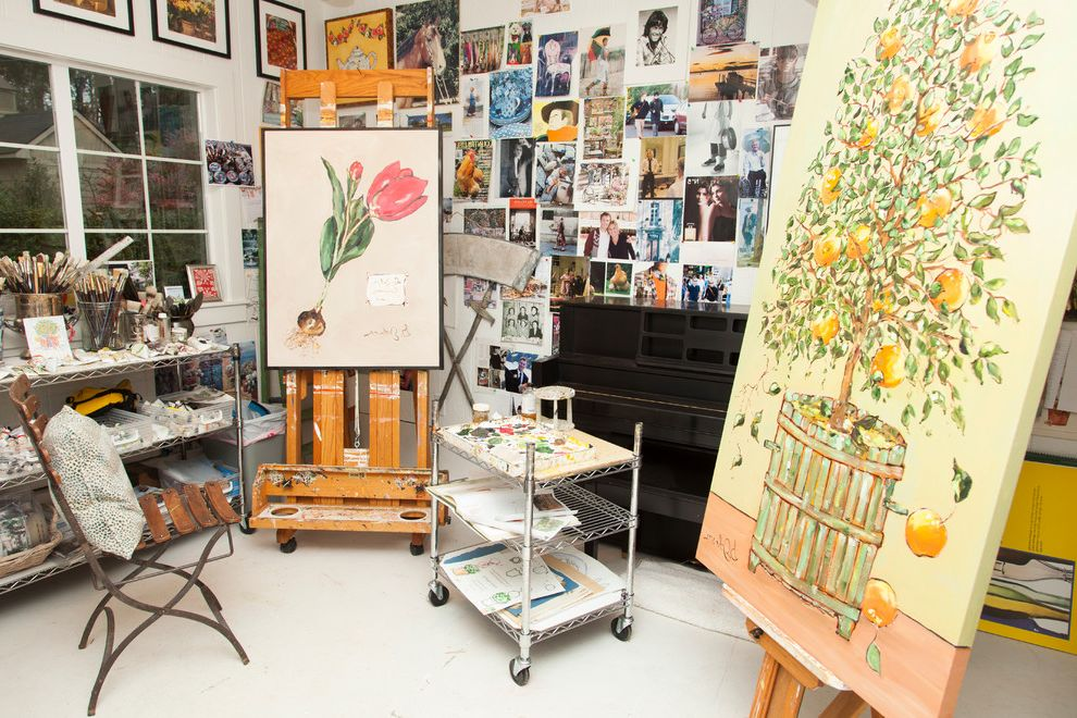 Pilates Room Studios   Traditional Home Office Also Art Supplies Art Wall Artist Studio Cafe Chair Easel Fruit Tree Metal Shelves Paintings Piano Rolling Shelves White Floors