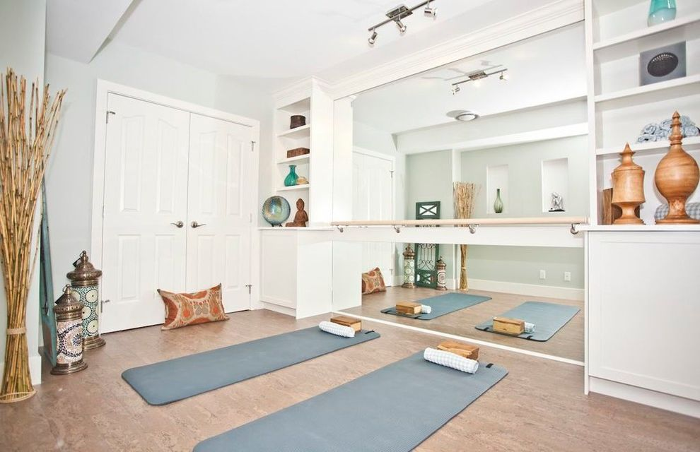 Pilates Room Studios with Asian Home Gym  and Ballet Bar Basement Built in Cabinetry Cork Exercise Room Mirrored Wall Neutral Track Lighting Yoga Yoga Room