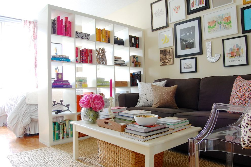 Pilates Room Studios with Shabby Chic Style Family Room Also Book Shelf Colorful Expedit Bookcase Gallery Wall Gray Couch Jute Rug Manhattan Modern New York Pink Space Trendy White Coffee Table York Ave