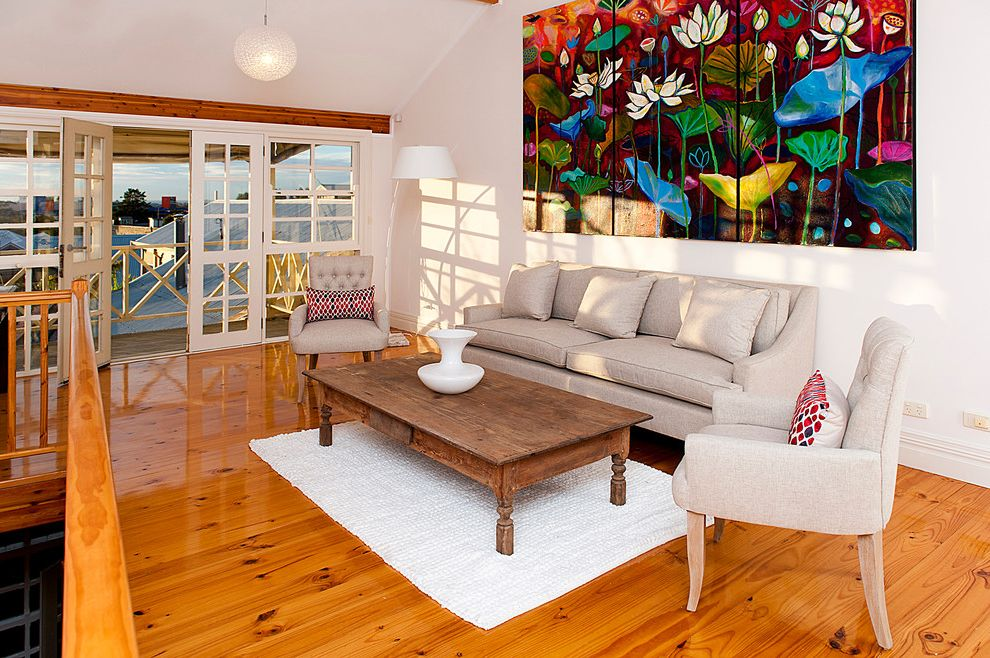 Pine Street Equinox   Contemporary Living Room Also Area Rug Artwork Balcony Fremont French Doors Knotty Floor Large Painting Pendant Light Rustic Coffee Table Seating Area Toucan Trading Vaulted Ceiling Wood Grain