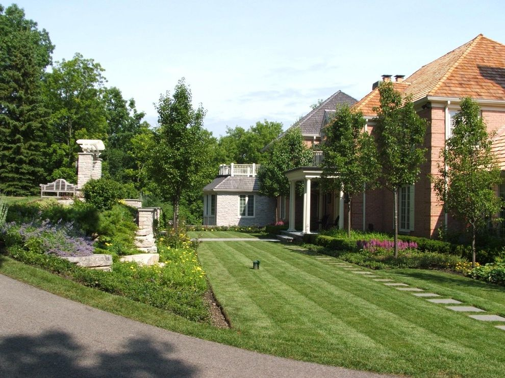Pine Street Equinox   Traditional Landscape Also Balcony Brick Wall Driveway Entrance Entry Grass Hillside Lawn Park Bench Path Pavers Planters Porch Retaining Wall Rock Wall Roof Terrace Shake Roof Slope Steps Stone Wall Turf Walkway Wooden Bench