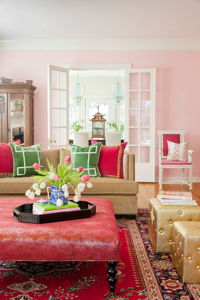 Pink Aztec Rug   Shabby Chic Style Living Room Also Area Rug Bella Pink Colorful Decorative Pillows French Doors Gold Pouf Green Living Room Oriental Rug Pink Pink Walls Serving Tray Tan Couch Throw Pillows Tulips Upholstered Ottoman