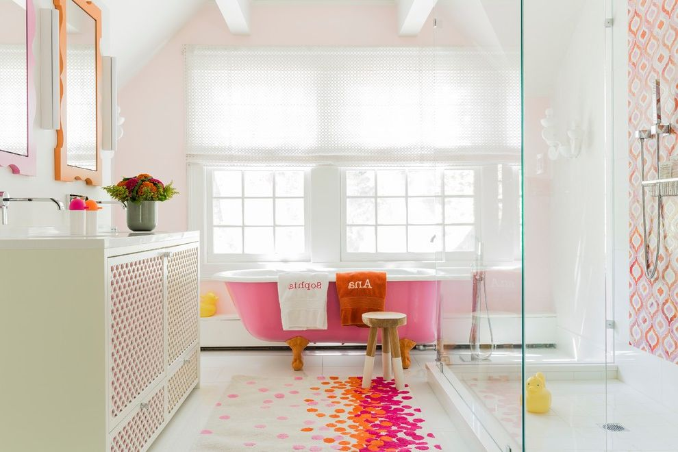 Pink Aztec Rug   Transitional Bathroom  and Area Rug Bright Colors Feminine Framed Wall Mirror Fun Monogram Orange Pink Pops of Color Stool Windows in Bathroom