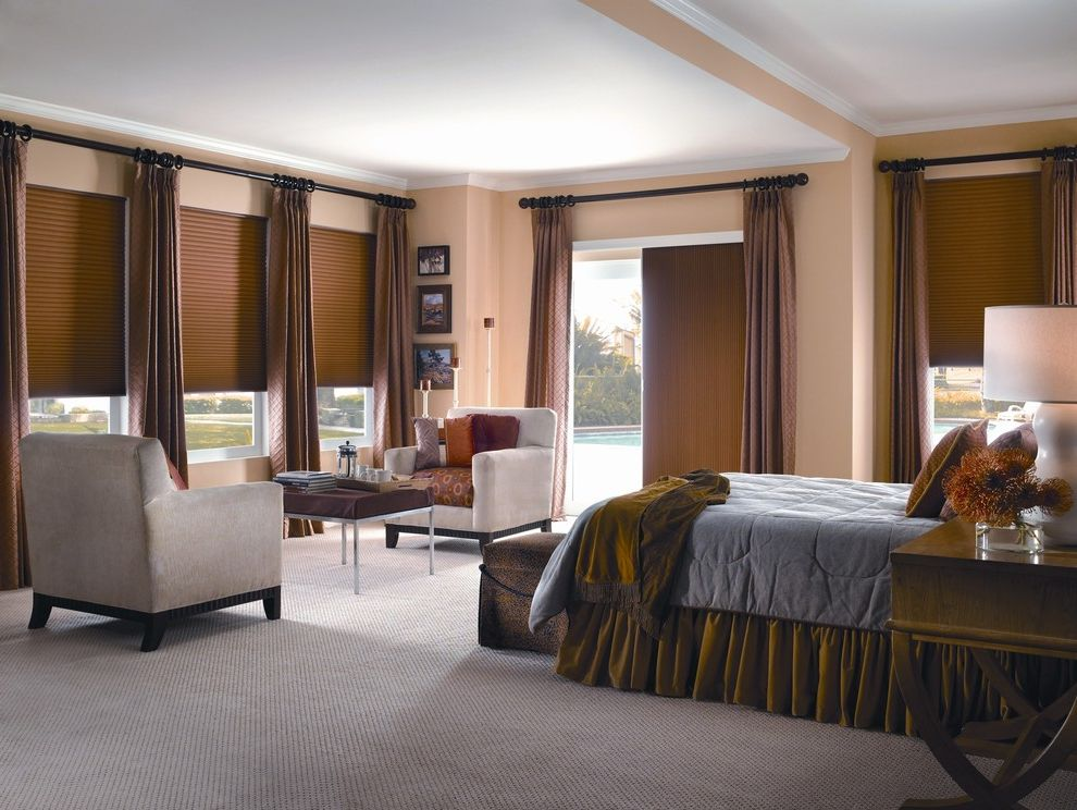 Pinnacle Building Services   Traditional Dining Room Also Bedroom Brown Drapes Carpet Flooring Cellular Shades Curtains Custom Drapery Drapery Drapes High End Curtain Drape Roman Shades Seating for Two Shades Shutter Window Treatments