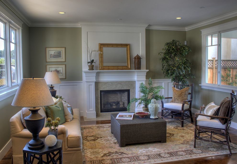 Plae Flooring   Traditional Living Room Also Area Rug Fire Surround Fireplace Gilt Mirror Mantel Sage Green Sofa Wainscot White Woven Coffee Table