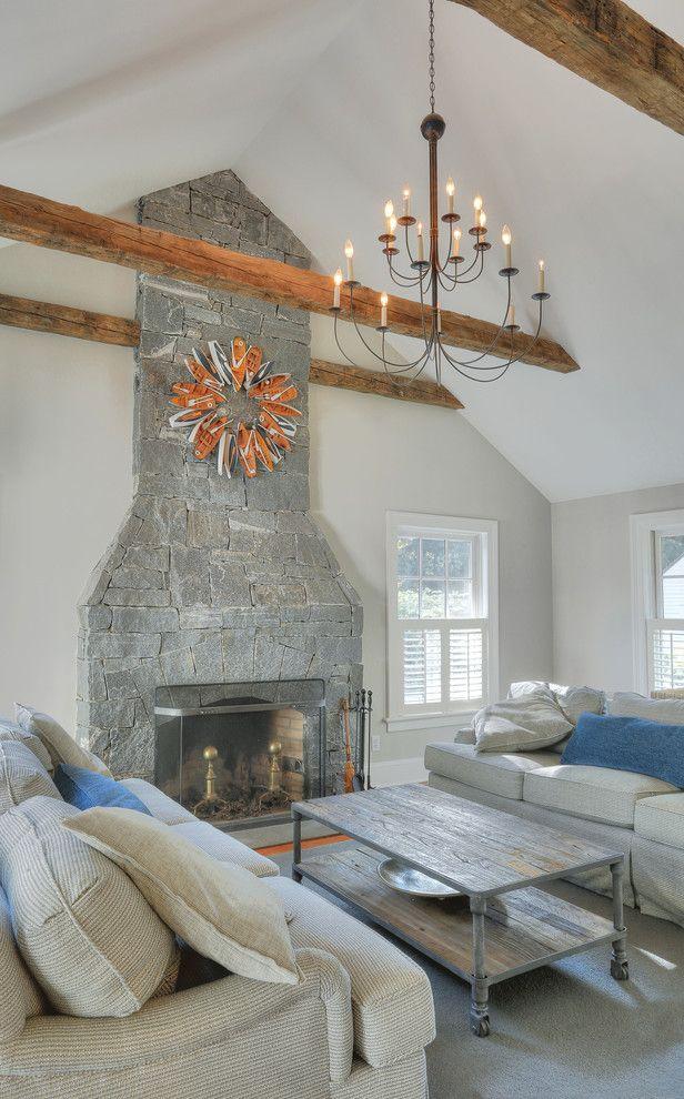 Plae Flooring with Farmhouse Family Room Also Barn Beams Estate Farmhouse Historic Marble Subzero Timber White Wolfe