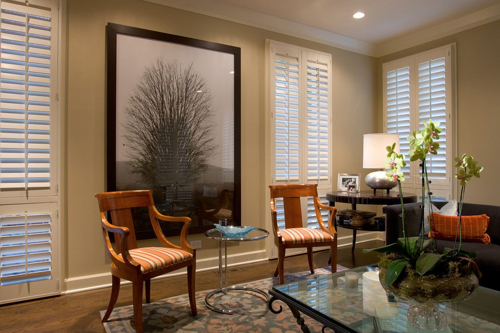 Plantation Shutters Costco   Eclectic Living Room Also Area Rug Ceiling Lighting End Table Glass Coffee Table Orchid Plantation Shutters Recessed Lighting Side Table Wall Art Wall Decor White Wood Window Treatments Wood Flooring Wood Trim