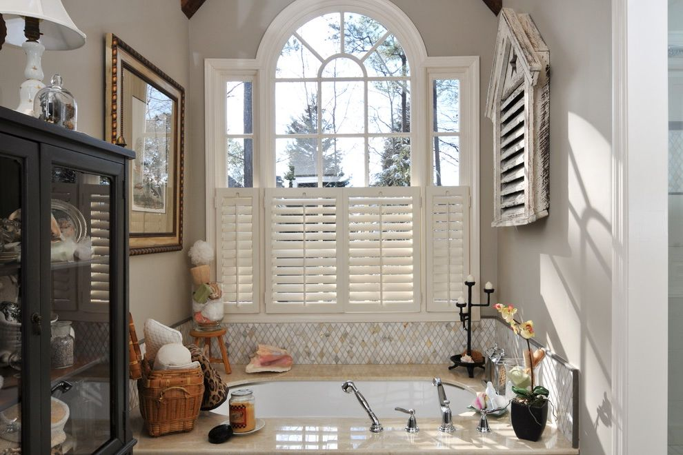 Plantation Shutters Costco with Shabby Chic Style Bathroom  and Alcove Bath Accessories Nook Orchid Soaking Tub Tub Surround Wall Art Wall Decor Window Shutters Window Treatments