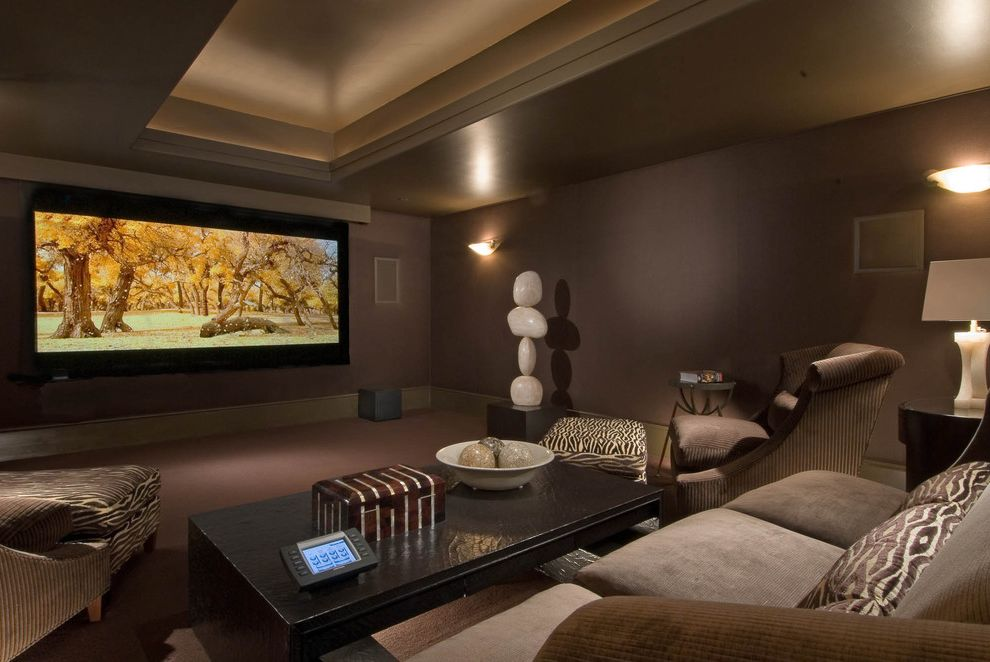 Platinum Theaters with Contemporary Home Theater  and Animal Print Bowl Chocolate Brown Cove Ceiling Marble Media Room Movie Screen Neutral Ottomans Sculpture Sofa Table Lamp Zebra