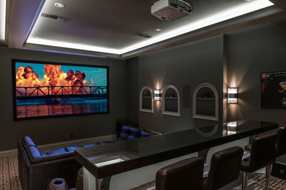 Platinum Theaters with Transitional Home Theater  and Counter Counter Stools Leather Chairs Led Lighting Speakers on Wall Wall Sconces