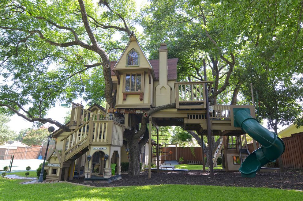 Playhouse Dallas   Traditional Landscape Also Children Cool Fun Gable Grass Home Huge Incredible Mulch Play Playhouse Rope Ladder Slide Stairs Tree House
