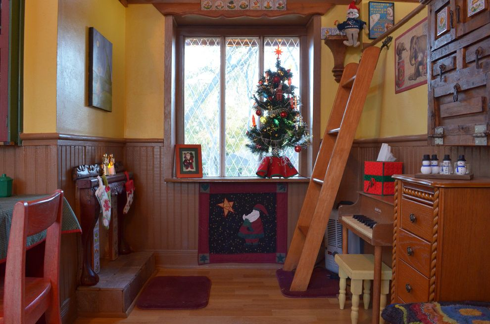 Playhouse Dallas with Eclectic Kids Also Christmas Christmas Decorations Christmas Tree Fireplace Kids Kids Piano Medium Wood Flooring Playhouse Playroom Small Piano Stockings Treehouse Wainscoting Wood Wood Ladder