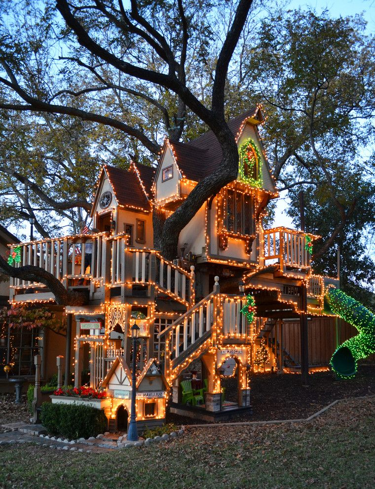 Playhouse Dallas with Eclectic Landscape Also Balcony Christmas Covered Slide Dallas Gable Roof House James Curvan Lights Play House Texas Tree Treehouse