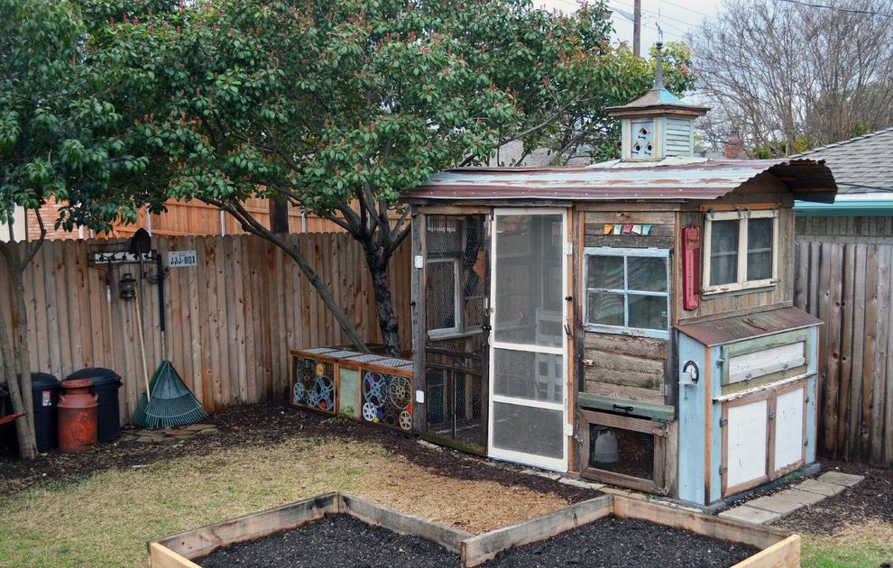 Playhouse Dallas with Eclectic Shed  and Chicken Coop Chickens Coop Cupola Industrial James Curvan Recycled Repurposed Rustic Screen Doors Upcycled Urban Farm