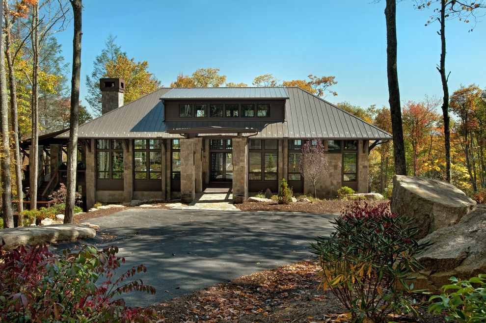 Plumber Boone Nc   Rustic Exterior  and Contemporary Glass Hip Roof Lodge Metal Roof Modern Moountain Roof Roofline Sleek Stones Vacation Home