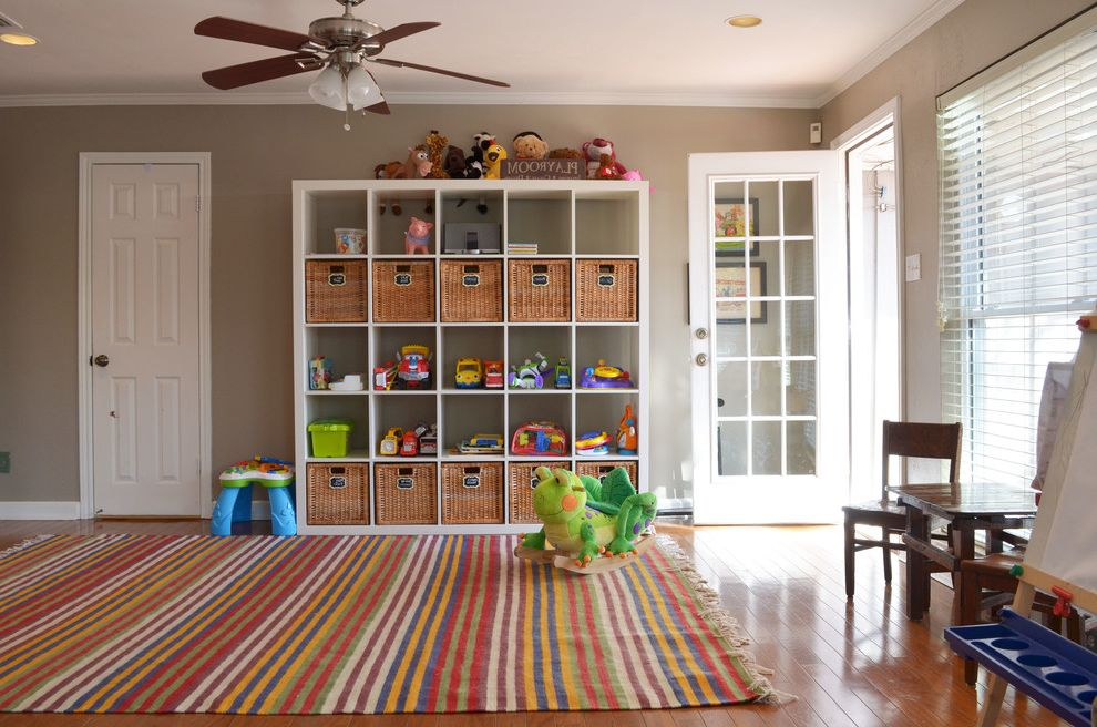 Plumbers Tyler Tx   Traditional Kids Also Bright Ceiling Fan Children Colors Cubby Holes Expedit Ikea Kids Kids Playroom Labels Penant Play Room Rumpus Shelves Striped Rug Tan Walls Toy Organization Toy Storage Wicker Baskets