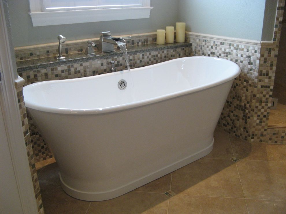 Plumbing Alexandria La   Traditional Bathroom Also Bath Fixtures Bathtub Candles Cool Tones Faucet Light Blue Mosaic Tiles Shelf Soaker Tub Stand Alone Tub Tile