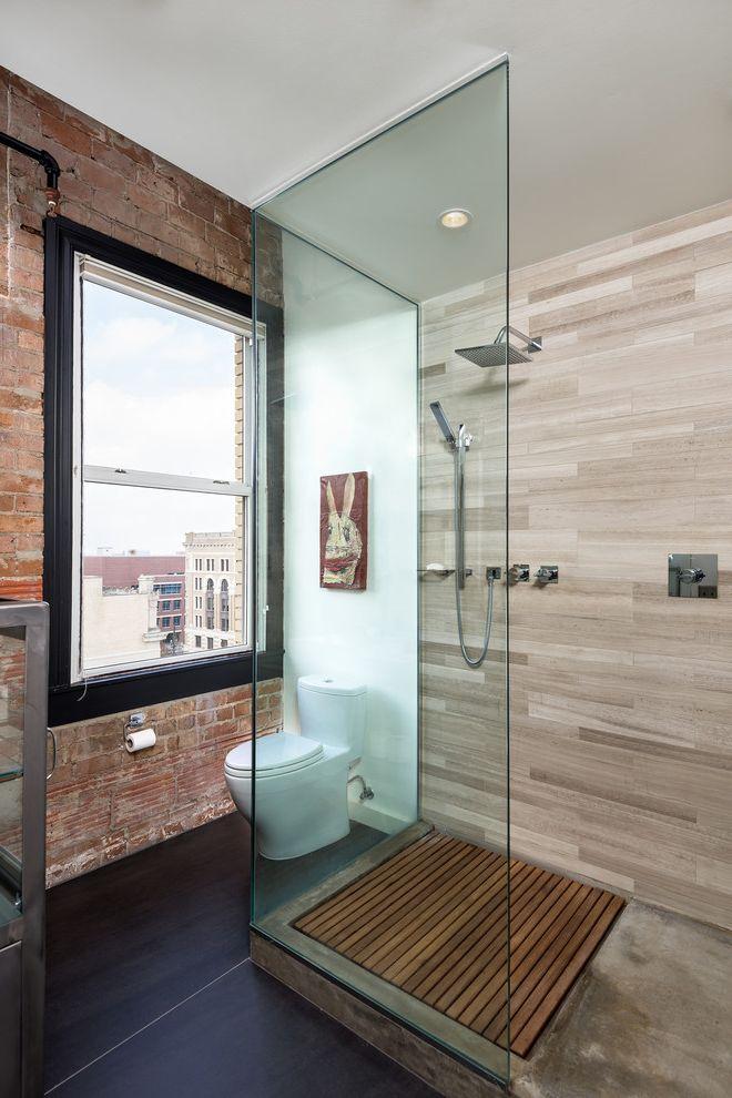 Plumbing Alexandria La with Industrial Bathroom Also Exposed Brick Exposed Concrete Interior Brick Large Tiles Limestone Tile Loft Teak Shower Platform Willow Limestone