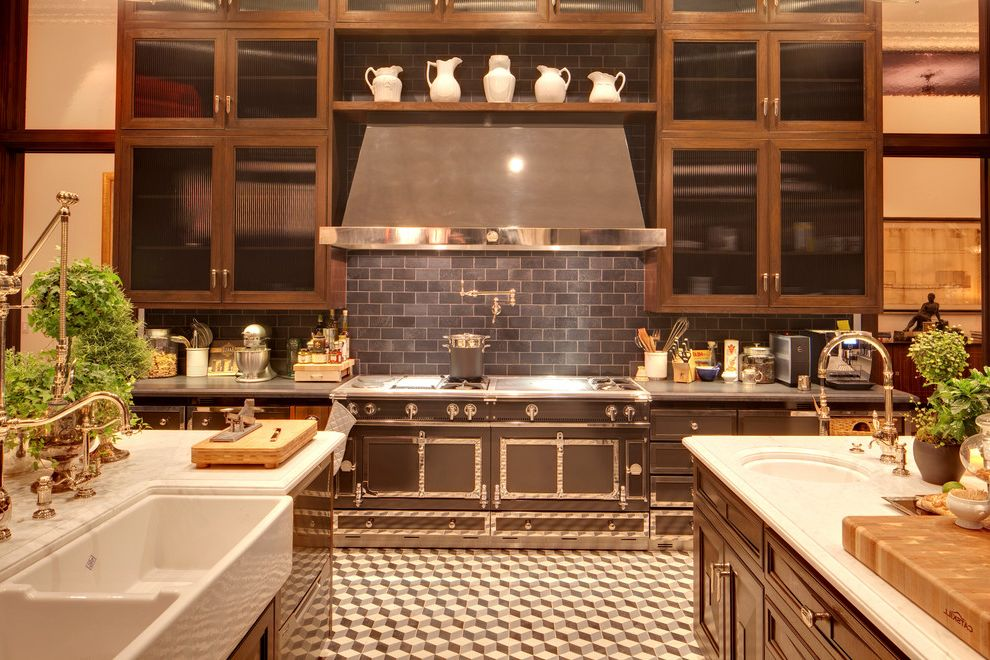 Plumbing Alexandria La with Traditional Kitchen Also Apron Sink Black Range Hood Kitchen Marble Pitchers Pot Filler Specialty Glass Tile Backsplash Tile Floor White Counters