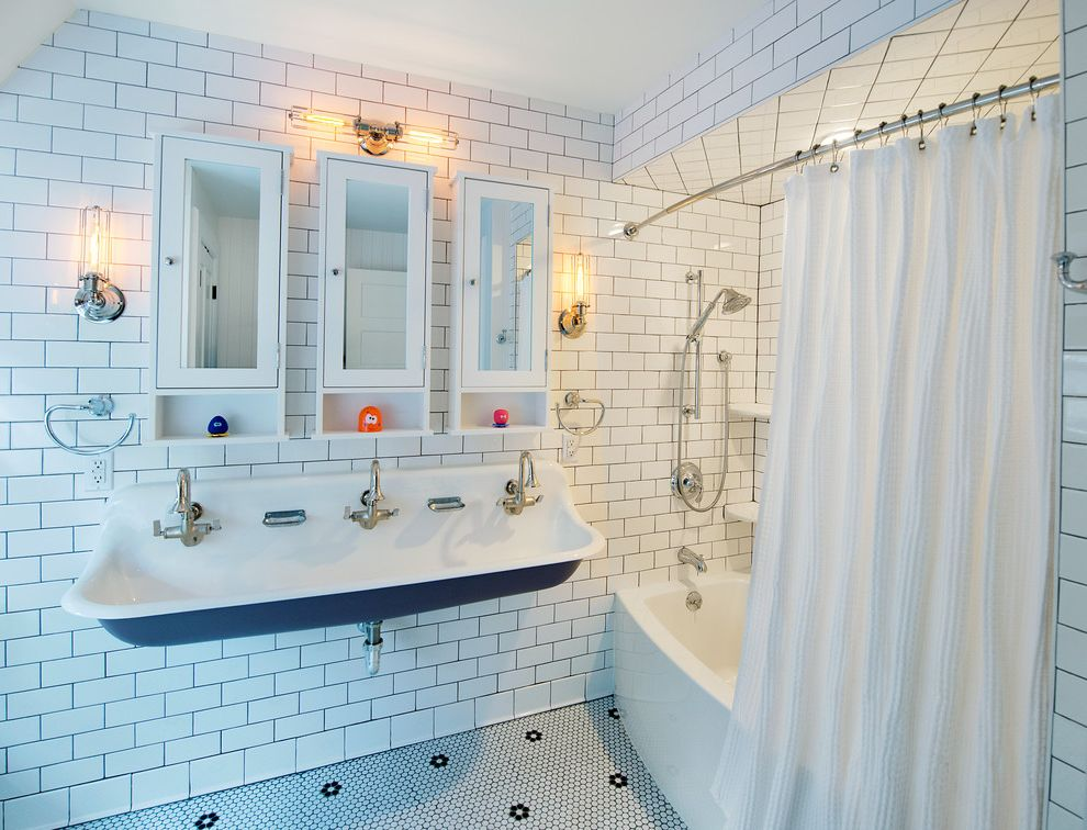 Plumbing Parts Plus   Transitional Bathroom Also Handheld Shower Faucet Hexagon Floor Tile Sink with 3 Faucets Wall Mounted Sink Wall Sconce White Mirrored Wall Cabinet White Shower Curtain White Subway Tile Wall