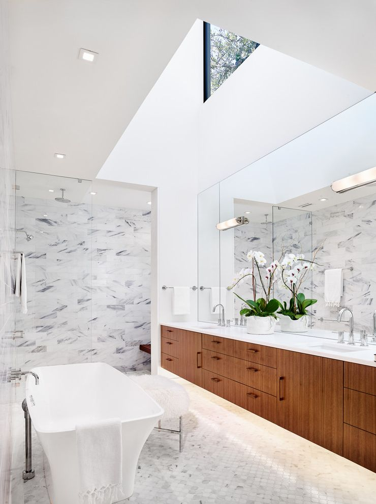 Plumbing Supply Austin   Contemporary Bathroom Also Clerestory Windows Double Vanity High Ceiling Under Cabinet Lighting Wall Sconces White Countertop
