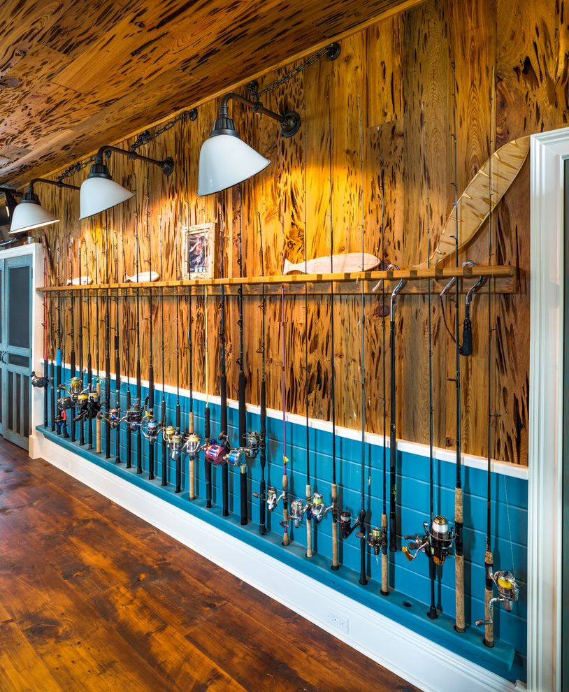 Pole Buildings Pa   Eclectic Shed  and Blue Ceramic Shades Fishing Poles Fishing Rods Screen Doors Shiplap Tongue and Groove Paneling v Rustic Wainscot Wall Sconces White Trim Wood Ceiling Wood Floor Wood Paneling