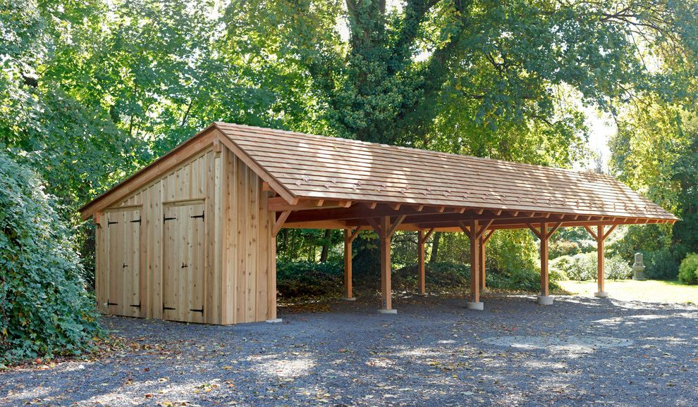 Pole Buildings Pa with Traditional Garage  and Beam Brace Carport Gravel Natural Landscape Natural Wood Paneling Post Rafter Tails Shingles Sloped Roof Storage Timber Trees