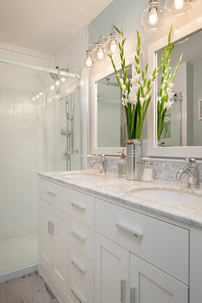 Polished Brass Vanity Lights   Traditional Bathroom  and Blue and White Cape Cod Clean Double Vanity Eclectic Lighting Faux Wood Tile Gray Grey Hex Tile Hexagon Ikea Kitchen Mix and Match Reno Shabby Chic Two Sinks White