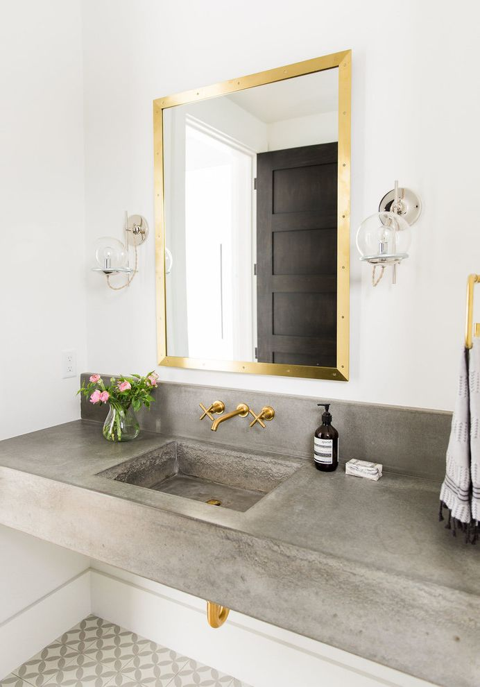 Polished Brass Vanity Lights Transitional Powder Room Also Concrete - Gold bathroom sconces