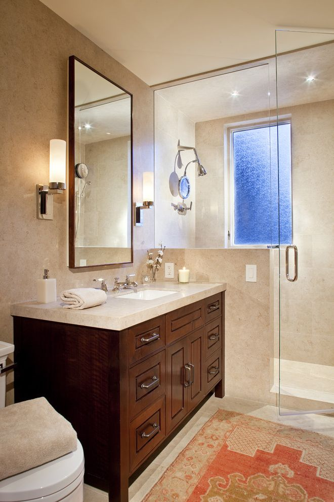 Polished Brass Vanity Lights with Contemporary Bathroom  and Clear Glass Shower Dark Wood Vanity Nickel Sconce Rug Standing Vanity Stone Counter Undermount Sink