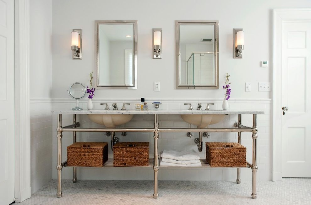 Polished Brass Vanity Lights with Traditional Bathroom  and Bathroom Lighting Bathroom Mirror Bathroom Tile Double Sinks Double Vanity Floor Tile Neutral Colors Shared Bathroom Storage Baskets Wainscoting Washstand White Bathroom