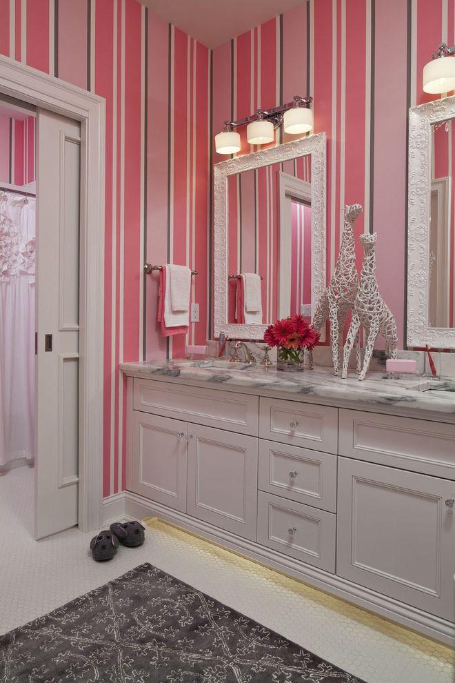 Polished Nickel Vanity Lights   Transitional Bathroom  and Giraffes Girls Bathroom Gray Gray Rug Kids Bathroom Marble Counter Martha Ohara Interiors Pink Pink Walls Sliding Door Striped Paint Tile Floor White White Mirrors