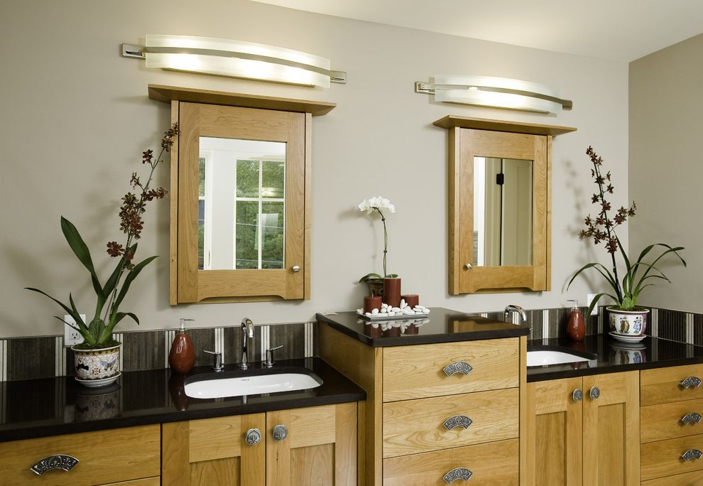Polished Nickel Vanity Lights with Eclectic Bathroom  and Bathroom Lighting Container Plants Double Sinks Double Vanity House Plants Kitchen Hardware Medicine Cabinet Potted Plants Sconce Shaker Style Wall Lighting Wood Cabinets