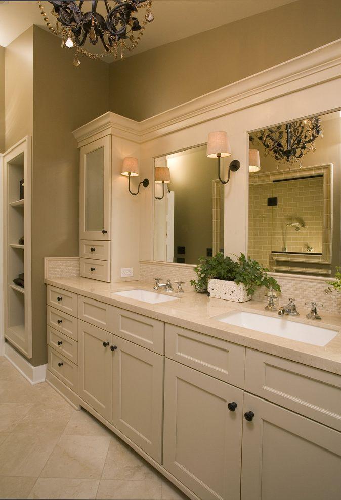 Polished Nickel Vanity Lights with Traditional Bathroom Also Bathroom Mirror Bathroom Storage Double Sinks Double Vanity Neutral Colors Sconce Tile Backsplash Tile Flooring Wall Lighting White Wood Wood Trim
