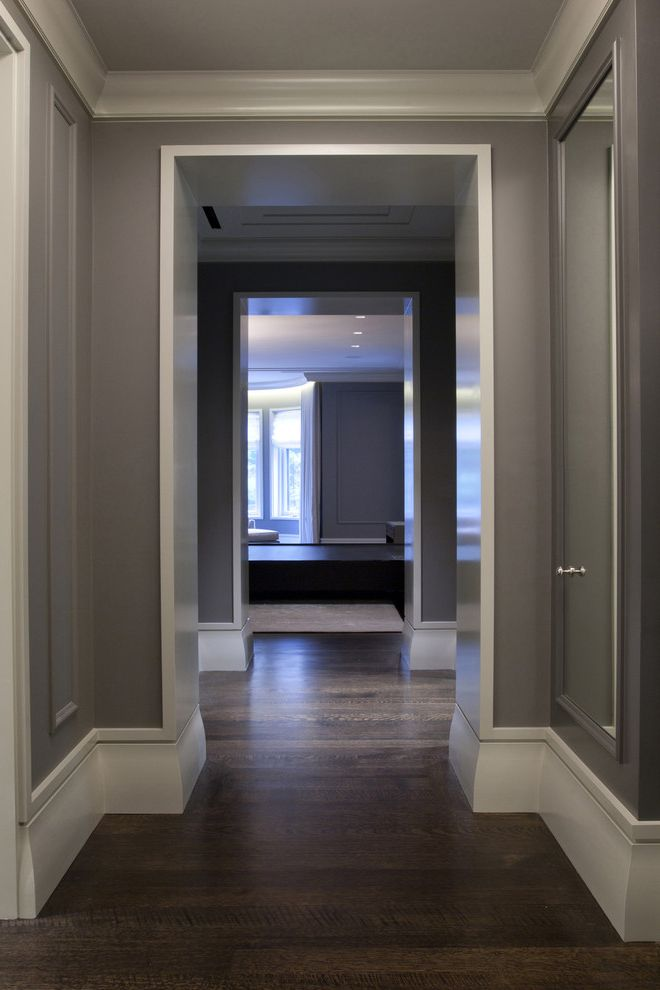 Polyurethane Cure Time   Contemporary Hall  and Baseboard Crown Molding Dark Stained Wood Floor Gray Hallway White Painted Trim