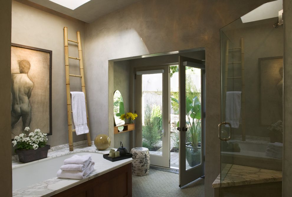 Polyurethane Cure Time   Eclectic Bathroom  and Asian Accessories Bamboo Towel Ladder Calacatta Tub Deck French Doors Gray Skylight Venetian Plaster Walls White