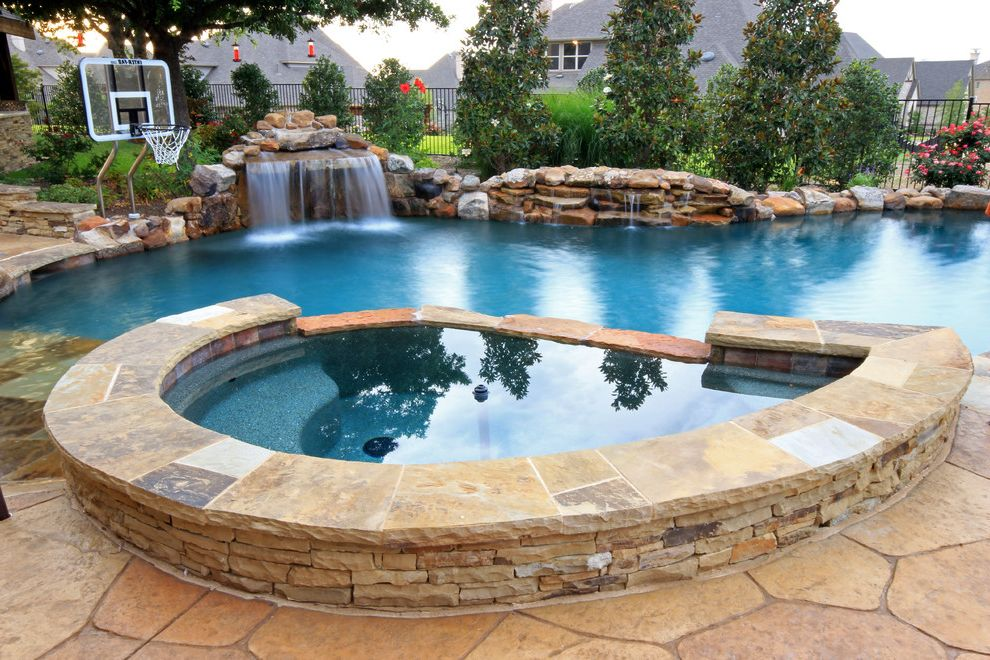 Pool Basketball Goal with Rustic Pool  and Basketball Hoop Flagstone Freeform Pool Hot Tub Pool Fountain Rocks Spa Stacked Stone Waterfall