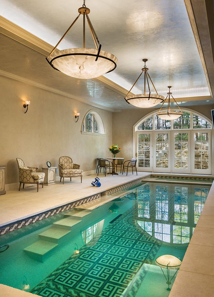 Pool Design Las Vegas   Traditional Pool  and Arched Window Arm Chairs Ceiling Lights French Doors Greek Key Indoor Pool Metal Patio Furniture Tile Design Tray Ceiling Underwater Steps Venetian Plaster Wall Sconce